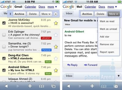 Gmail with floating bar - New Google goods for iPhone and Android users