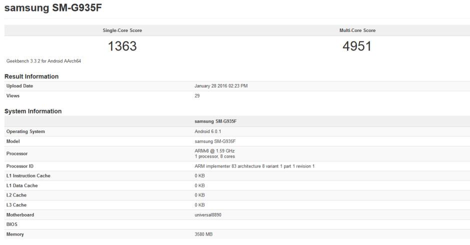Samsung Galaxy S7 edge visits Geekbench - Samsung Galaxy S7 edge takes a run through Geekbench