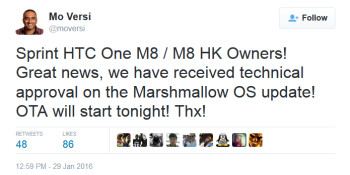 HTC's Mo Versi says HTC has received technical approval to send out Android 6.0 to Sprint's HTC One (M8)