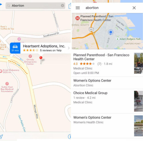 Last week, a search for abortion from the Bayview district of San Francisco still displayed an adoption agency first on Apple Maps (L) while Google Maps led with Planned Parenthood