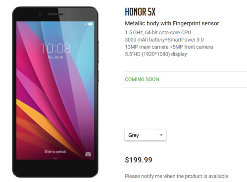 You can order the honor 5X directly from the honor store beginning tomorrow