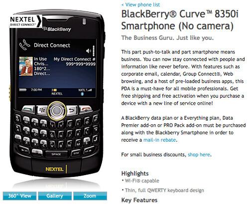 Sprint offers BlackBerry Curve 8350i with no camera
