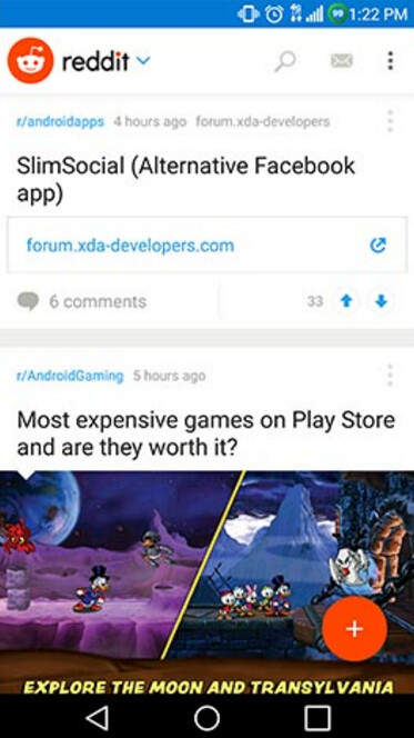 Screenshots from the beta version of the Reddit app for Android