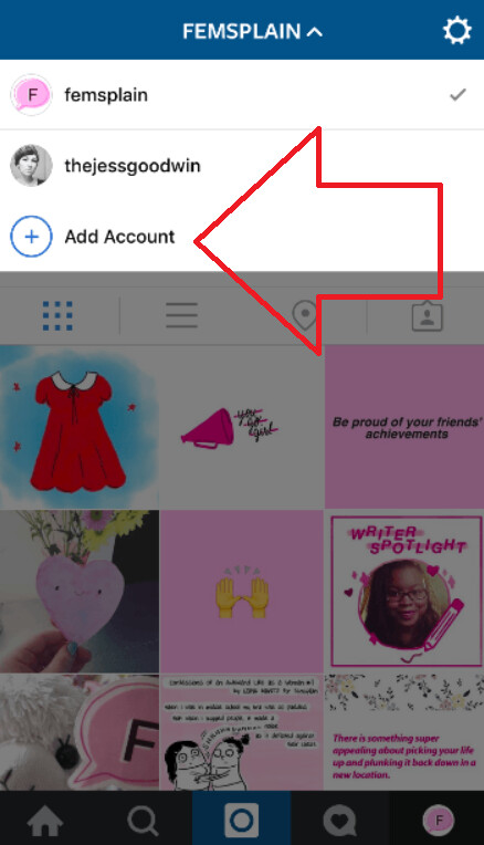 Screenshots show multiple account support for the iOS Instagram app