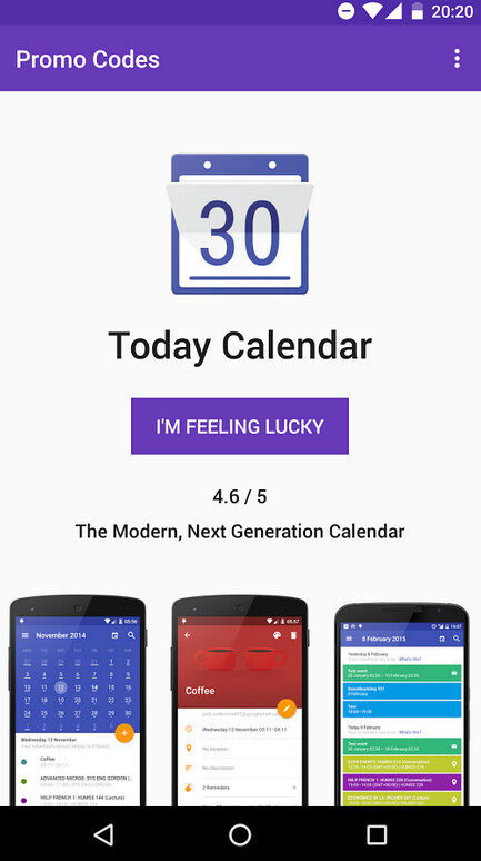 Open the app and press on the button that says I'm feeling lucky...