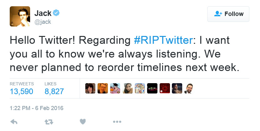 Twitter CEO Dorsey denies that the timelines are being changed