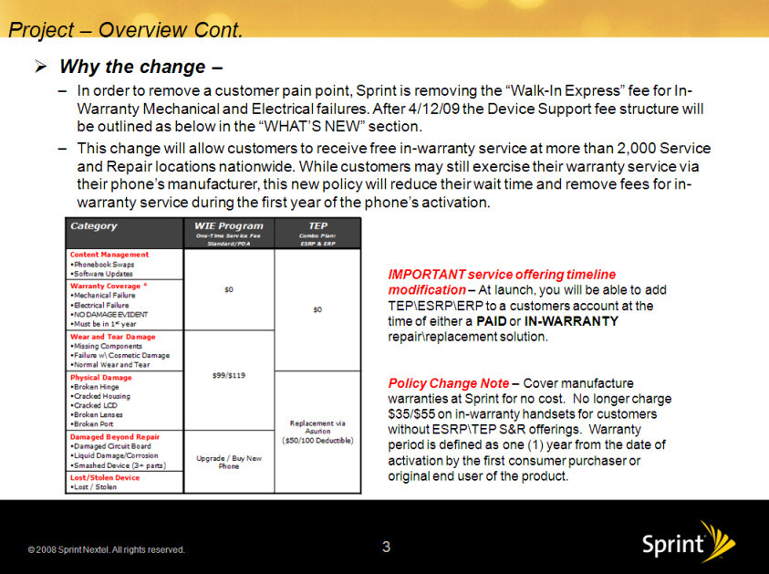 Sprint updates its in-warranty policy