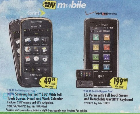 Samsung Instinct S30 appears in Best Buy circular for $49.99