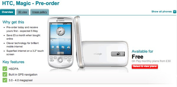 Abracadbra! Vodafone is taking pre-orders for the HTC Magic with a May 5th shipping date