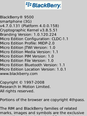 Leaked OS 4.7.0.131 for BlackBerry Storm 9500