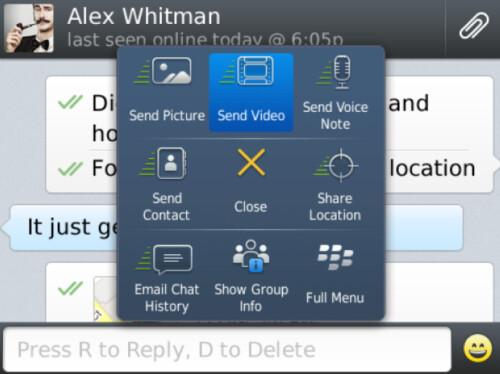 WhatsApp for BlackBerry 10 receives an update