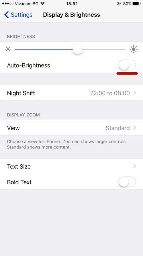 Enable auto-brightness