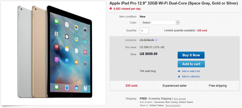 32GB Wi-Fi only iPad Pro is $699.99