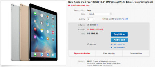 128GB Wi-Fi only iPad Pro is $849.99