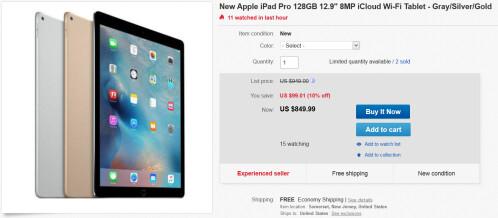 128GB Wi-Fi only iPad Pro is $849.99