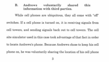This argument made by the prosecution says that you are consenting to be tracked whenever you turn on your handset