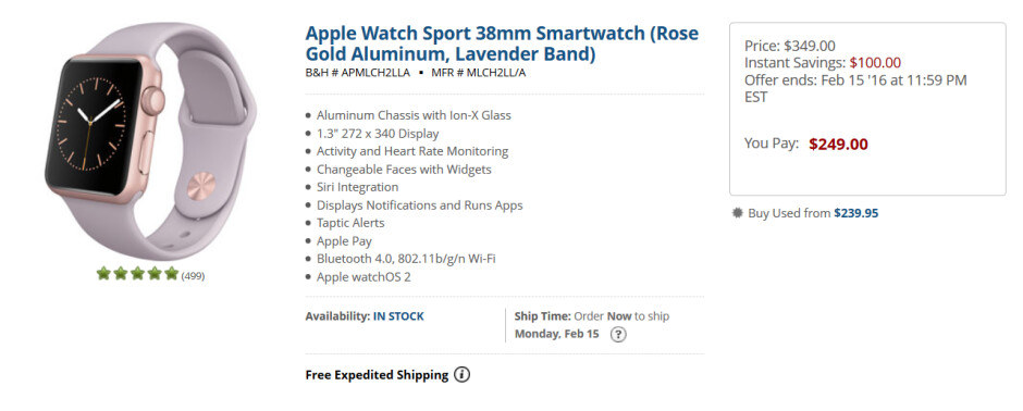 Save as much as 29% on the purchase of an Apple Watch from B&H Photo - Looking for a Valentine's Day gift? Save $100 on 20 Apple Watch models at B&H Photo