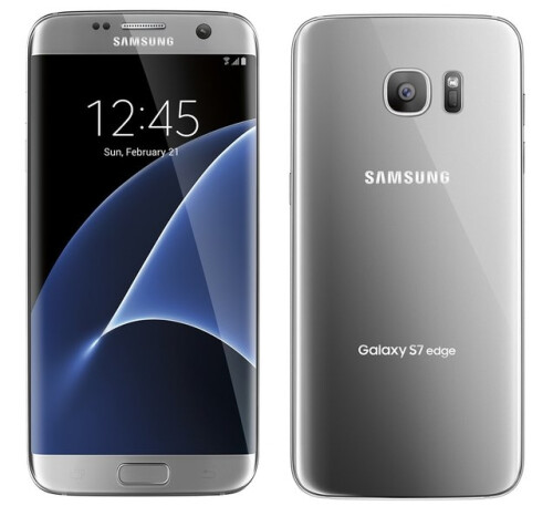 Samsung Galaxy S7 edge in black, silver, and gold