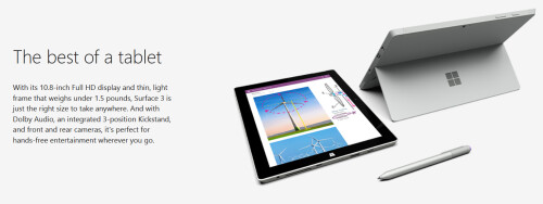 Take 25% off of the 128GB Wi-Fi only Surface 3 tablet