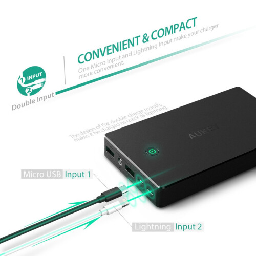 AUKEY 20000mAh Portable Power Bank with Lightning Input