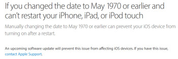 Apple says that a software update is coming to prevent 64-bit iOS devices from getting bricked when the date is set back to May 1970 or earlier