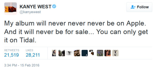 Kanye says he won't let Apple Music or iTunes touch his new album...