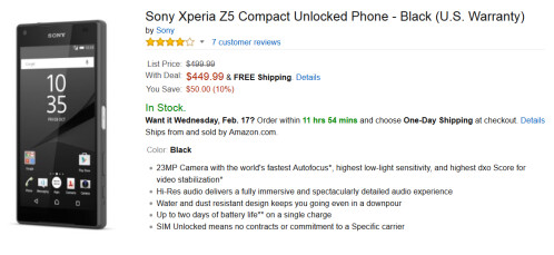 Save $60 on the purchase of the Sony Xperia Z5 or Sony Xperia Z5 Compact