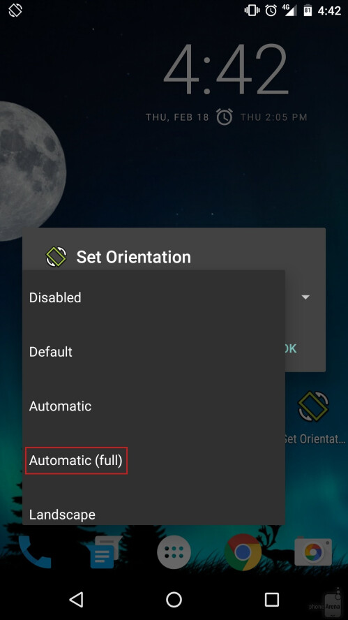 Automatic (full) will make your screen rotate whenever your device rotates.