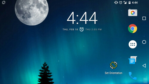 Even your home screen can be displayed in landscape mode.