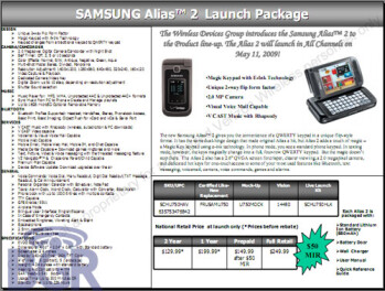 Leaked Verizon papers confirm May 11th launch for Samsung Alias 2 at $79.99