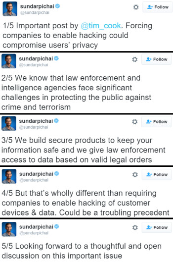 Google CEO Sundar Pichai tweets in support of Apple's decision to not unlock terrorist's iPhone 5c
