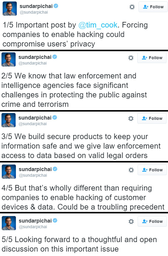 Google CEO Sundar Pichai tweets in support of Apple's decision to not unlock terrorist's iPhone 5c