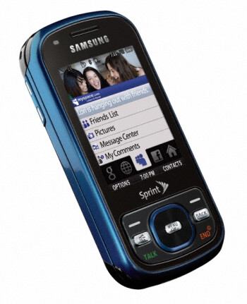 The Samsung Exclaim M550 is a two-way slider for social networking