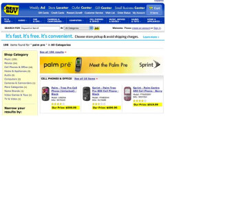 Palm Pre banner display seen on Best Buy web site
