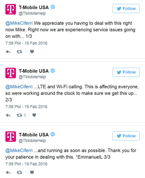 T-Mobile is working around the clock to resume service