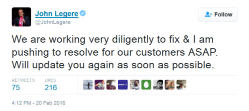 T-Mobile CEO John Legere comments on the outage