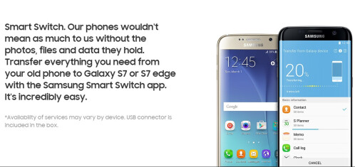 Samsung Smart Switch with USB connector provided in the box