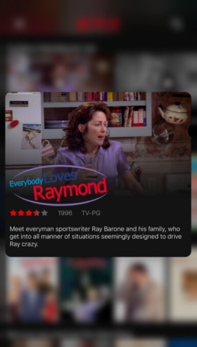 With the updated version of Netflix for iOS you can use 3D Touch to Peek at a show...