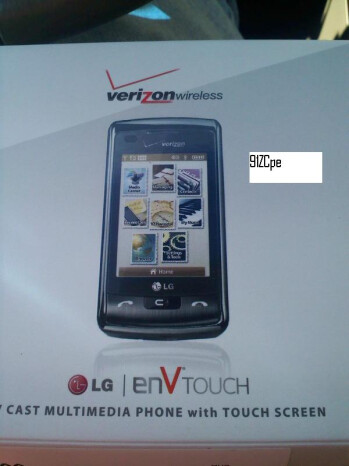 Live images of the LG enV Touch for Verizon