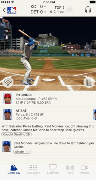 Screenshots from Baseball's best app, At Bat