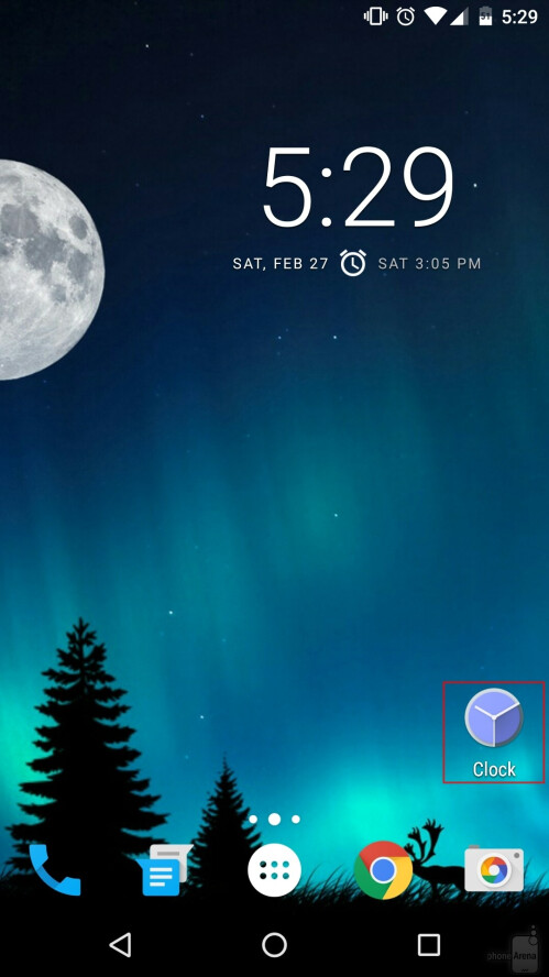 For convenience, we've placed the Google Clock app on our home screen. The app can also be accessed if you tap on the clock widget - assuming you do have the widget on your home screen (like we do).
