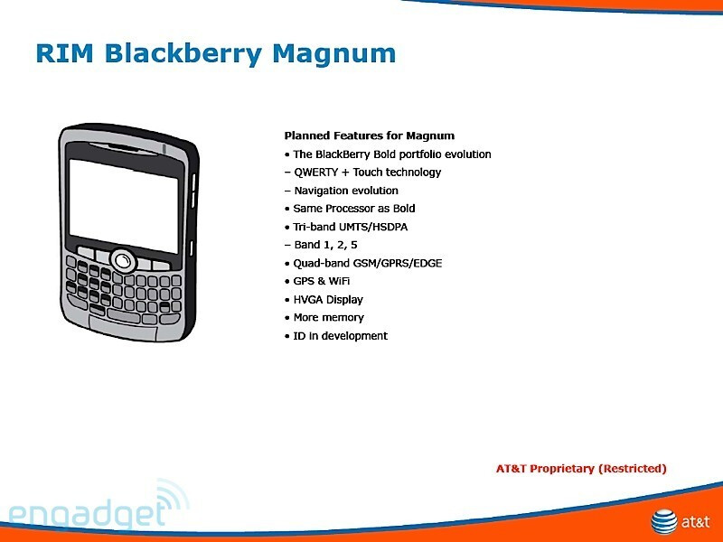 The BlackBerry Magnum sports both a QWERTY keyboard and a touchscreen - BlackBerry Magnum, Onyx, Gemini and Pearl 3G coming to AT&T