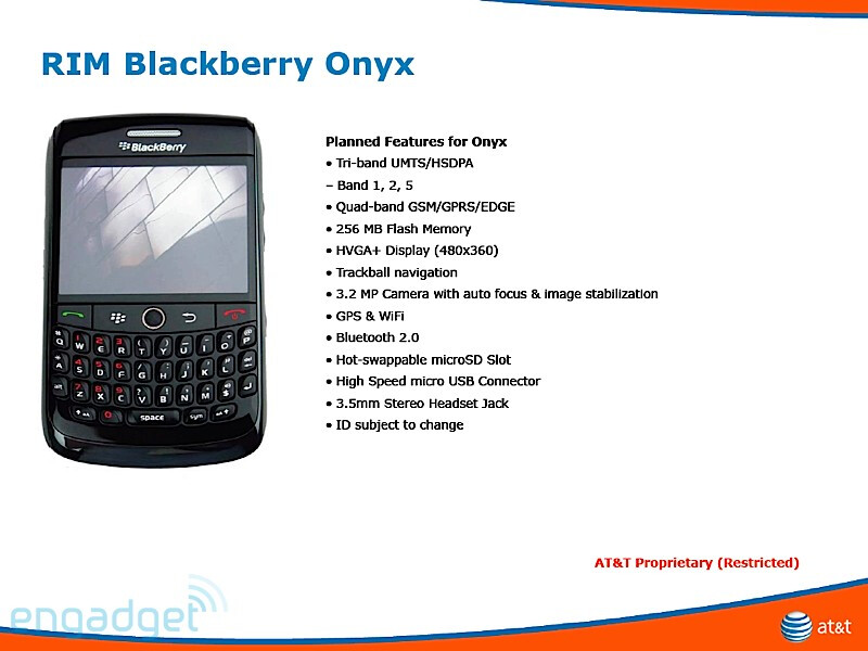 The Onyx is a refreshment of the Bold - BlackBerry Magnum, Onyx, Gemini and Pearl 3G coming to AT&T