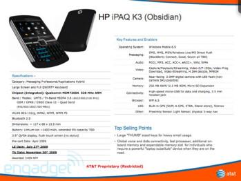 The iPAQ K3 will be running WM 6.5