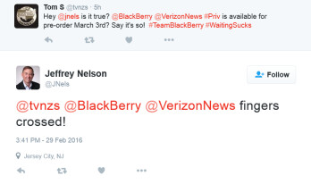 Verizon VP confirms that BlackBerry Priv pre-orders will begin on Verizon March 3rd