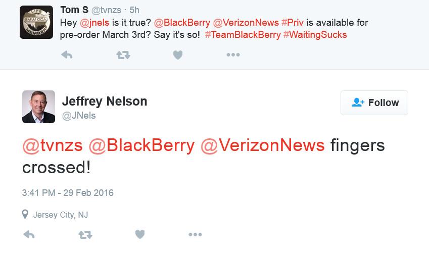 Verizon VP confirms that BlackBerry Priv pre-orders will begin on Verizon March 3rd - Verizon to begin pre-orders for the BlackBerry Priv on March 3rd, launch phone on March 11th?