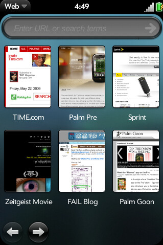 The Palm Pre web browser looks terrific