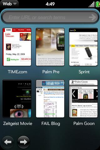 The Palm Pre web browser looks terrific