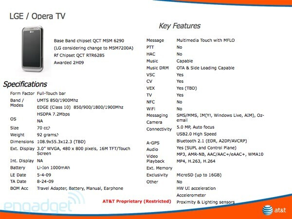 LG Opera TV has Mobile TV - Tuesday's News Bits - May 2009 edition, part 4