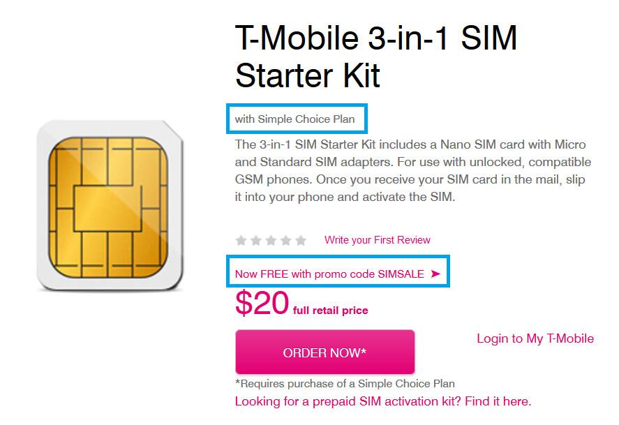 T-Mobile raises SIM starter kit price to $20
